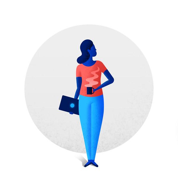 Woman holding computer and coffee mug